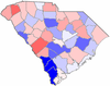 Red counties were won by Beasley and blue counties were won by Theodore