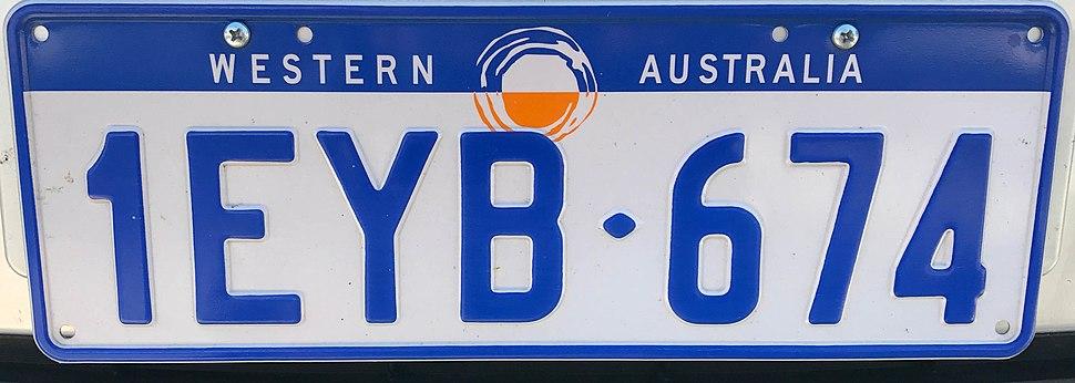 1997 Western Australia registration plate 1EYB♦674