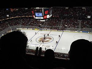 2003–04 Calgary Flames season - Opening faceoff during game three against Vancouver.