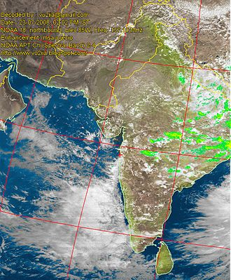 Amateur radio in India - Live satellite images such as this are decoded by amateur radio operators to provide accurate weather reports during heavy rains in cities prone to flooding such as Mumbai.