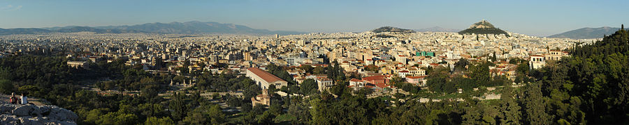 Athens viewed from the Areopagus hill by day