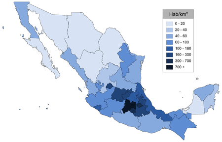 list of mexican states by population density