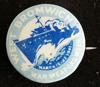 "West Bromwich - World War II fund-raising badge, sold during ""War Weapons Week"", 15–22 March 1941"