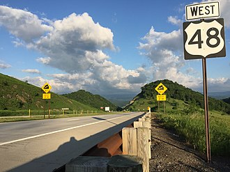 U.S. Route 48 - View west along US 48 between Moorefield and Forman
