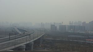 Hangzhou Xiaoshan International Airport - Airport Highway under construction, February 2016