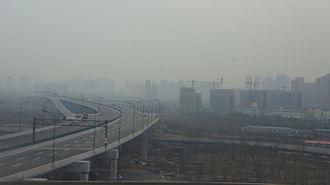 Hangzhou Xiaoshan International Airport - Airport Highway under construction, February 2016