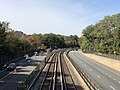 2018-10-25 12 01 10 View west along Interstate 66 (Custis Memorial Parkway) and the Orange and Silver lines of the Washington Metro from the pedestrian overpass connecting Fairfax Drive to 9th Road North in Arlington County, Virginia.jpg