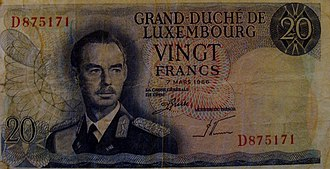 Luxembourgish franc - 20 Luxembourgish franc  banknote