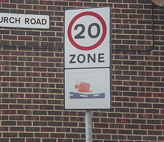 Road speed limits in the United Kingdom - Road sign used to mark the start of a 20 mph zone