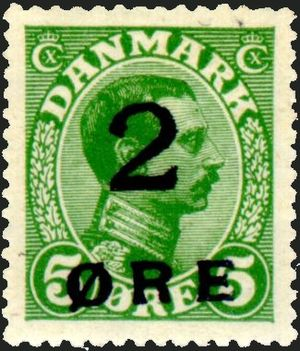 """Postage stamps and postal history of the Faroe Islands - The 2 øre """"chair leg stamp"""" of 1919."""