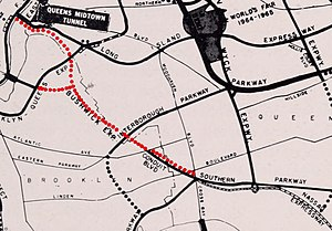 Interstate 78 in New York - A 1964 highway map with the proposed Bushwick Expressway highlighted in red.