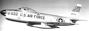 9th Space Division - 323d Fighter-Interceptor Squadron F-86D Sabre 53-4032 at Larson AFB 1954