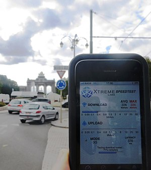 Telecommunications in Belgium - 3G mobile data network speed test in downtown Brussels, September 2012. After 2 years of bans on new mobile basestations, the mobile network download speed is down at 0.25 Mbit/s.