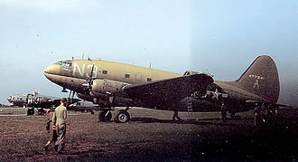 313th Tactical Airlift Group - 47th Troop Carrier Squadron Curtiss C-46D-10-CU Commando 44-77541, April 1945, Achiet Airfield (B-54), France