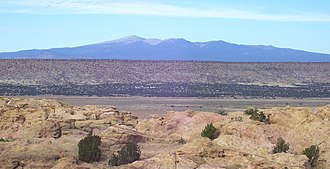 Mount Taylor (New Mexico) - A view of Mount Taylor to the north from the west end of the Sky City of Acoma Pueblo.