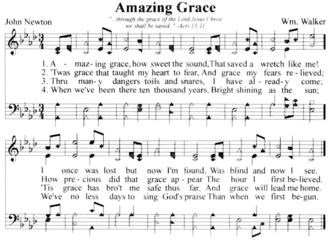 Shape note - The 7-note system as used in a modern Independent Fundamental Baptist church hymnal from the South.