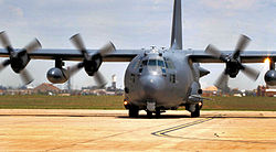 An AC-130W Stinger II of the 73rd Special Operations Squadron on the flight line at Cannon Air Force Base.