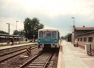 Brandenburg Hauptbahnhof - Passenger train in the station on the now disused line to Belzig