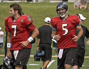 Joe Flacco - Flacco (right) and Boller during 2008 training camp
