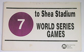7 (New York City Subway service) - This poster was used on 7 trains heading to Shea Stadium for the World Series in 1986, which the New York Mets won.