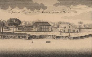 """Detalhe do """"Prospecto da Freguezia de Sta Anna, no Garapé-Mirim"""", de André SchWebel (1756)."""
