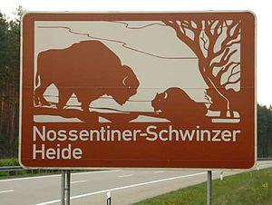 Nossentiner/Schwinzer Heath Nature Park - Tourist sign on the A 19