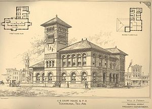 United States Post Office and Courthouse (Texarkana) - The 1888 Texarkana courthouse and post office, razed in 1930 to make way for the new building
