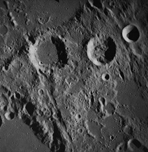 Hind (crater) - Hind (upper right centre) and Halley (upper left centre) from Apollo 16. At top right is Hipparchus C. Hind C is south of Hind. NASA photo.