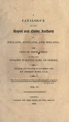 A Catalogue of the Royal and Noble Authors of England, Scotland, and Ireland, Volume 4.djvu