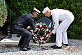 A Sailor and a firefighter lay a wreath at a 9-11 Memorial in Japan. (36359751393).jpg