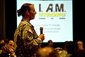A U.S. Soldier asks Chief of Staff of the Army Gen. George W. Casey Jr., a question, during the 3rd Annual Sexual Harassment and Sexual Assault Prevention Summit, in Arlington, Va., Mar 100330-A-VO565-004.jpg