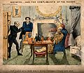 A doctor unexpectedly paying a visit to a patient. Coloured Wellcome V0010945.jpg