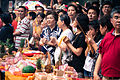 A group of devotees at Temple Festival Taiwan, Buddhist culture religion rites rituals sights.jpg