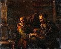 A man removing a plaster from the back of a man's hand. Oil Wellcome V0017534.jpg