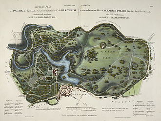 Conservation and restoration of historic gardens - A 1835 estate map of the landscaped parkland at Blenheim Palace, in Oxfordshire, England.