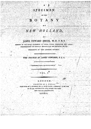 A Specimen of the Botany of New Holland - Title Page