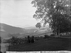 A view of the vale of Bontuchel from Fachlwyd tennis court NLW3361592.jpg