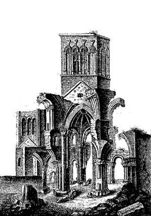 Richard de Redvers - A 19th century print of the ruins of Montebourg Abbey in Normandy where Richard de Redvers was buried in 1107