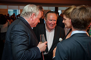 Andrew Neil - Neil (centre) with Sky News anchor Adam Boulton (left) in 2013
