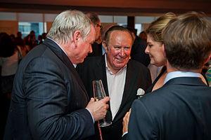 Andrew Neil - Neil (centre) with Sky News anchor Adam Boulton (left) in 2013
