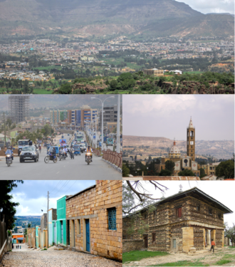 Adigrat - Clockwise from top: Adigrat panoramic view, Cathedral of the Holy Savior, Debre Damo Monastery, typical street, downtown.