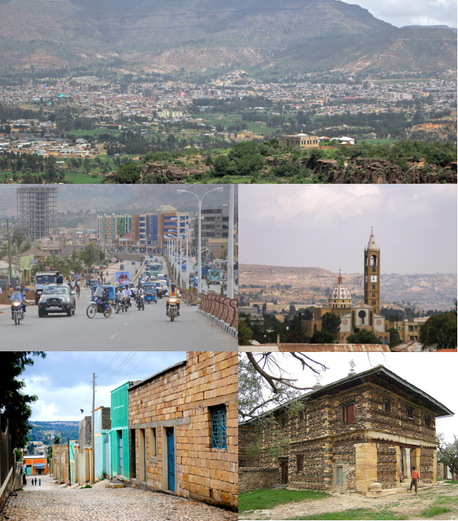 Clockwise from top: Adigrat panoramic view, Cathedral of the Holy Savior, Debre Damo Monastery, typical street, downtown.