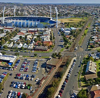 Kardinia Park (stadium) - Aerial perspective of Kardinia Park Stadium with South Geelong train station