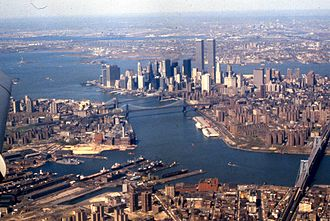 New York Harbor - A 1981 view looking southwest: Wallabout Bay and East River (foreground), Hudson River (at right), Upper New York Bay (left) and Newark Bay in the distance.