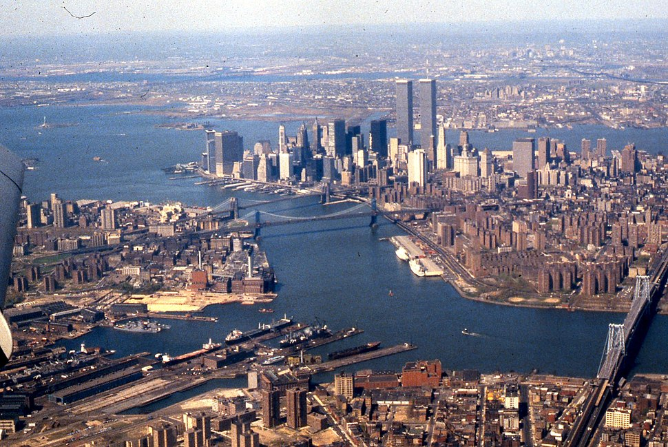 Aerial view of East River, Lower Manhattan, New York Harbor, 1981