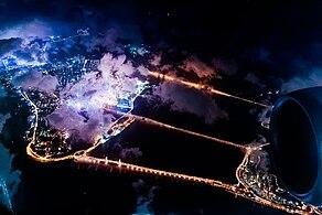 Aerial view of Macau at night