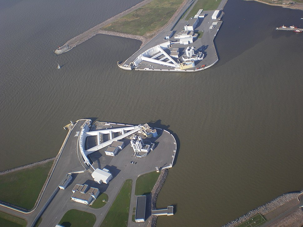 Aerial view of Navigation Pass S-1 of Saint Petersburg Dam