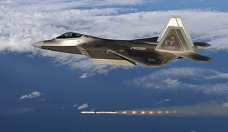 Military aircraft - A USAF F-22A Raptor firing an AIM-120 air-to-air missile