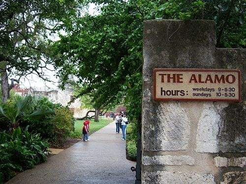 Today the site of the Alamo Mission is a museum AlamoMissionSign.jpg