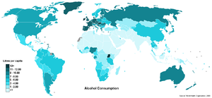 Alcohol in Australia - World map showing countries by annual alcohol consumption per capita, 2008